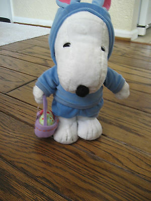 "Snoopy 2005 animated musical plush 12"" EASTER BUNNY Peanuts batteries included"