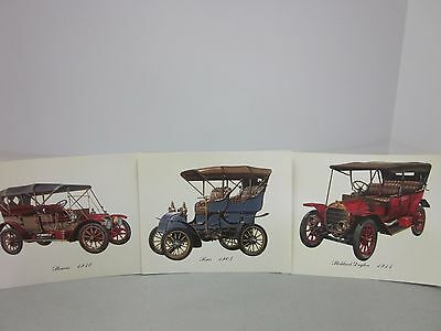 Antique Automobile Prints from Cities Service Oil Co. Complimentary Advertising