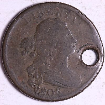1806 Draped Bust Half Cent Holed R11ACC