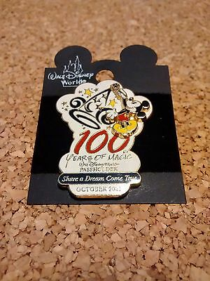 Walt Disney World 100 Years Of Magic Mickey Mouse Passholder Exclusive Pin