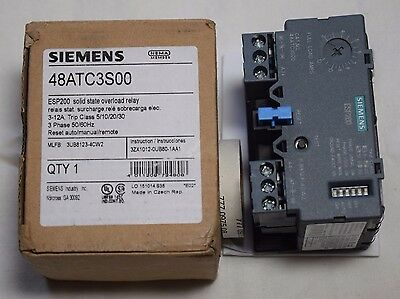 Siemens Esp200 Solid State Overload Relay 48Atc3S00 3Ub8123-4Cw2 3-12Amp