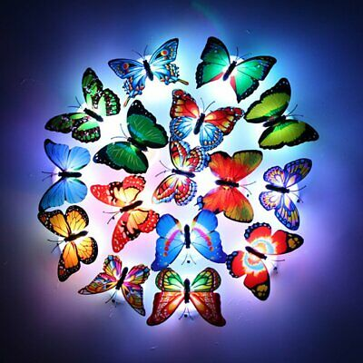 8 packs LED Fiber Optic Lamp Butterflies Night Light Butterfly Decoration