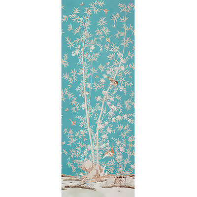 Schumacher Chinoiserie Bamboo Blossom Tree W Birds Drapery Panel Fabric Peacock