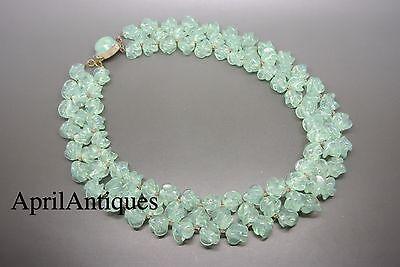 Vintage French 50s Louis Rousselet green swirl poured Glass bib Necklace