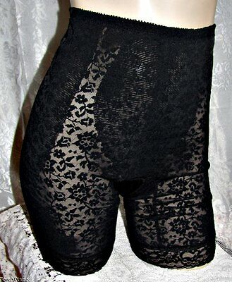 Vtg Va Bien Black Nylon/Spandex Long Line Girdle~L~Frilly!