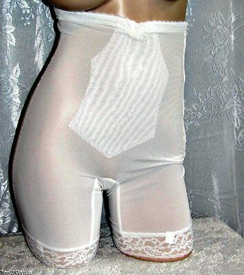 Vtg Adonna White Nylon/Spandex Long Line Girdle~L~Gorgeous!
