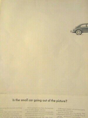 """1965 Volkswagen Original Beetle Bug Print Ad Small Car Out Of Pitcher 9 x10.5"""""""