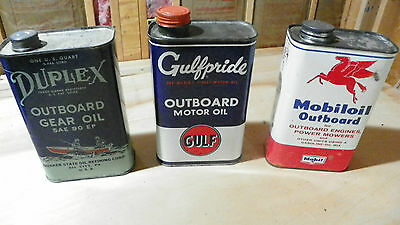 3 Vintage Outboard Motor Oil Cans Gulfpride Duplex Mobiloil Quaker State Gulf