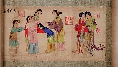 Excellent Chinese Old Handmade Figures Scroll Painting Marks PP319