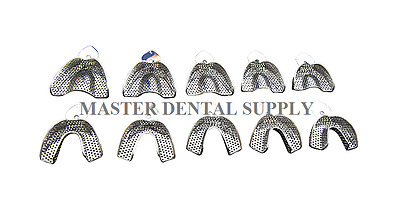 Dental Impression Trays METAL STAINLESS STEEL Perforated 10 Pcs AUTOCLAVABLE