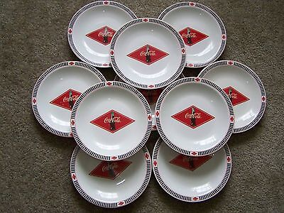 "Vintage COCA COLA  Checkered Lunch Burger Plates 2003 by Gibson 7.5"" Awesome"