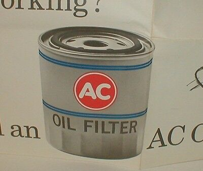 "vintage 1960's AC OIL FILTER Large Window Store Sign 15 1/2"" by 41"" w/ FREE SHIP"
