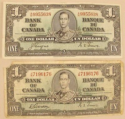 Lot Of 2: Canada $1 1937 Series, Circulated