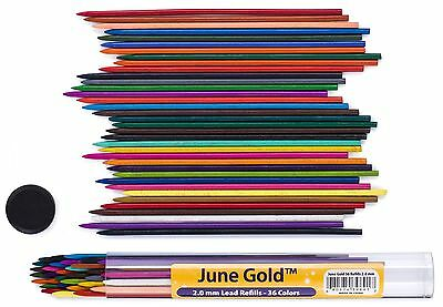 June Gold 36 Colored Lead Refills, 2.0 mm Extra Bold, 90 mm Tall, Pre-Sharpen...