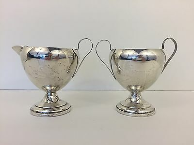 Vintage National Silver Co Weighted Sterling Silver Creamer & Sugar Bowl