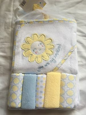 Baby Hooded Towel & 5 Washcloth Gift Set Shower Yellow My Sunshine ☀️Boys Girls