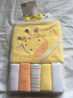 Hooded Towel & 5 Washcloth Gift Set Boys Girls Yellow Shower Giraffe Baby Gear