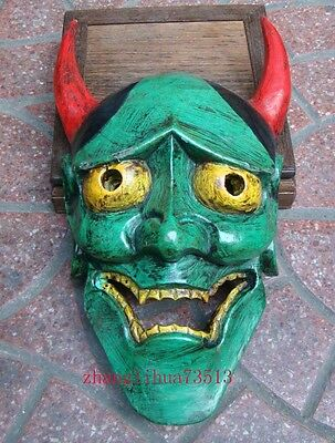 """Antique Handmade Carving & colored drawing wood Mask God Deco Art  13"""""""