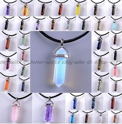 Natural Quartz Crystal Stone Point Chakra Healing Gemstone Pendants Necklaces