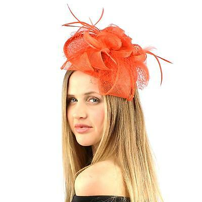 Fancy Sinamay Feather Trio Floral Fishnet Headband Fascinator Cocktail Hat Coral