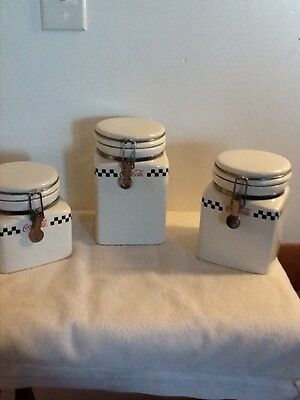 Retro Coca-Cola 3pc Canister Set By Gibson White Red Black 2002