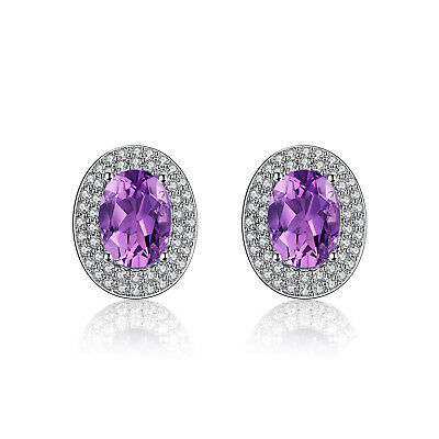 JewelryPalace Classic 1.1ct Natural Amethyst Stud Earrings 925 Sterling Silver