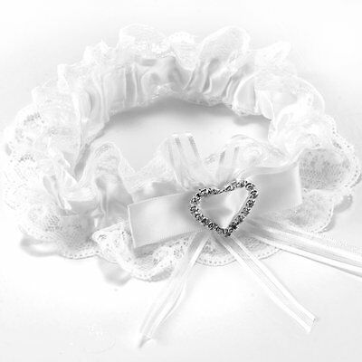 Garter white lace wedding accessory lucky bride Bow heart elastic tape #67 U2F2