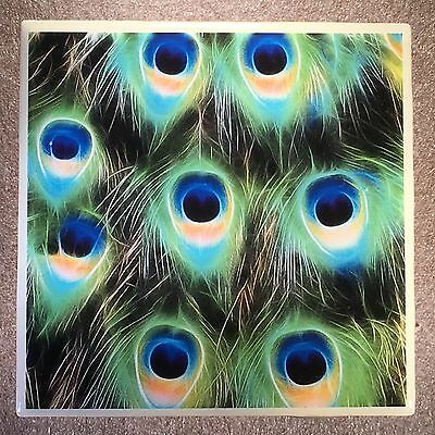 PEACOCK FEATHERS Coaster Ceramic Tile
