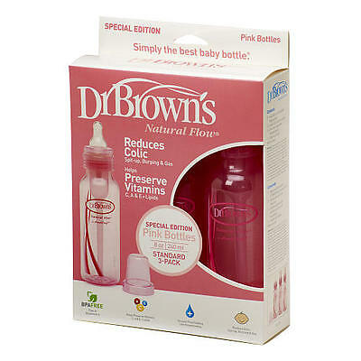 Dr Brown's 2Pk Narrow Neck 250ml Baby Bottle Pink Anti Colic Bottle Dr Browns