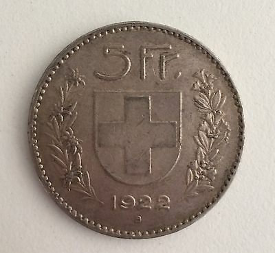 Swiss silver 5 Francs 1922 Large William Tell crown