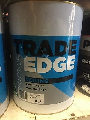 Trade Edge Interior Ceiling Builders-White 10L Water Based Suitable For Spraygun