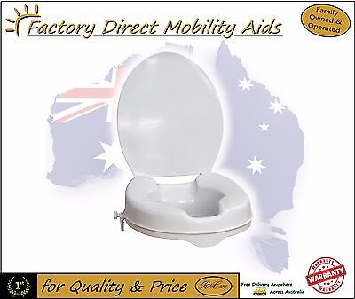 """Aspire Clip On Elevated Raised Toilet Seat 2"""" 50mm With Lid Toilet Aid"""