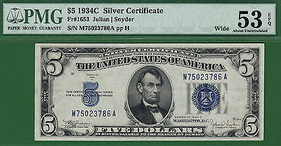 1934C $5 Silver Certificate Wide PMG 53 EPQ About Uncirculated M-A Block Fr 1653