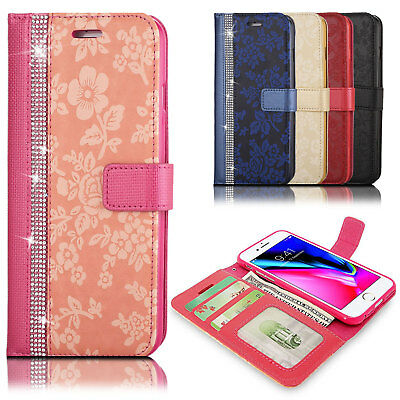Luxury Leather Glitter Bling Wallet Flip Stand Case Cover For Various Mobile