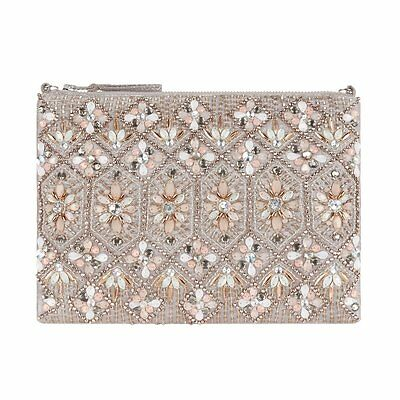 Accessorize Eve Nude Embellished Zip Top Clutch Bag BNWT Wedding Prom Party