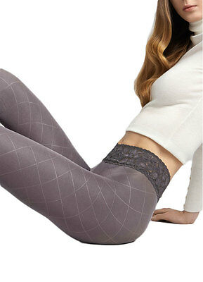 60 Denier Diamond Patterned Tights, Lace Waistband Opaque Pantyhose, Marilyn Gra