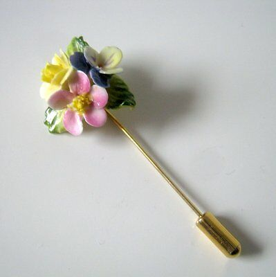 Vintage Porcelain Flower Gold Tone Stick Pin, Fashion Jewelry
