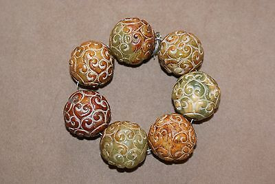 Antique Carved Chinese Nephrite Jade Large Beads Good Luck Charms C1910