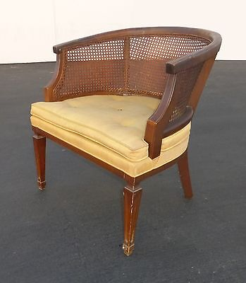 Vintage Mid-Century Modern Mahogany Cane Back CLUB CHAIR w Tan Cushion