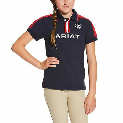New! Ariat Team II Youth / Junior Polo Shirt Navy/Red M-XXL