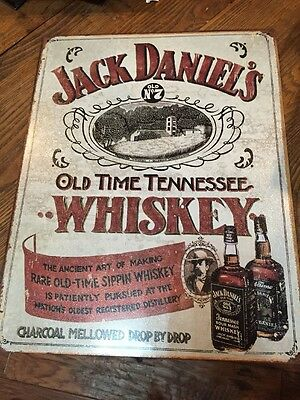Jack Daniels Old Time Tennessee Whiskey Tin Sign - Rustic Look - Brand New