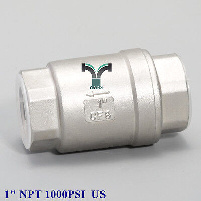 """Check valve 1"""" inch NPT Spring No return valve Stainless steel Water Oil Gas US"""