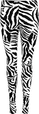 Girls Zebra Print Leggings Full Length Kids 3-13 Yrs White Animal Dance Costume