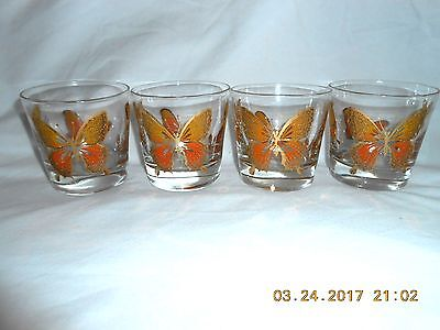 Vintage 6 Libbey Butterfly Glasses On The Rocks  Orange Yellow & Gold Excellent