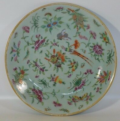 A 19th C Chinese celadon Canton Famille Rose enamel porcelain plate seal mark