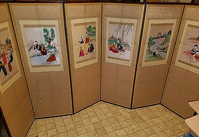 Vintage Asian Screen Byobu 6 Panel, Double-Sided Room Divider, Calligraphy