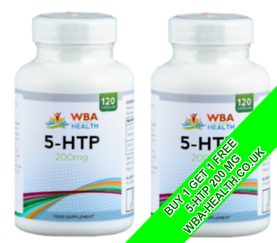 Double Strengh 5-Htp 200Mg 120 Capsules X 2 Depression Insomnia Anxiety Uk Made