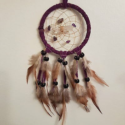 """Vision Seeker Dreamcatcher 3""""  AMETHYST (PURPLE) with crystal HANDMADE BY ME"""