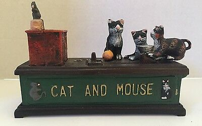 Cast Iron Cat and Mouse Mechanical Bank Reproduction