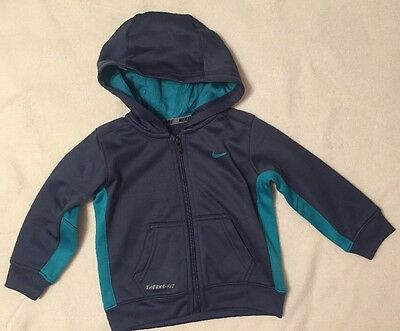 Nike Therma-Fit Toddler Size 18M Zip Front Hoodie Jacket Blue & Green